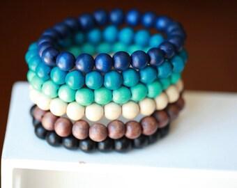 10MM Mens Beaded Wood Bracelet - Mens wood bracelet