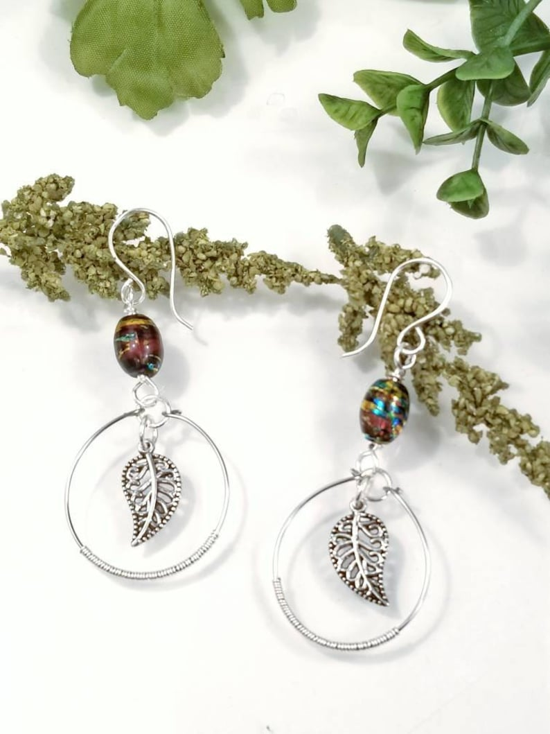 Silver Leaf Earrings  Leaf Jewelry  Fall Jewelry  Fall Earrings Boho Earrings  Boho Jewelry  Nature Lovers Gift  Gift for Her