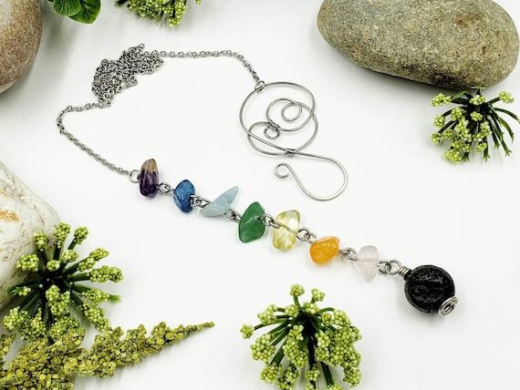 Rose Quartz Diffuser Necklace  Rose Quartz Necklace  Crystal necklace  Gemstone Lariat Necklace  Stone Y necklace   Lava Stone Necklace