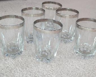 b82e80e8906 Vintage Set Of 6 Silver Rim 8 Ounce Cocktail Glasses