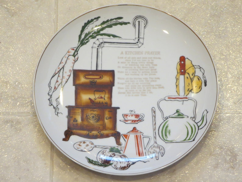 Vintage 10 Inch Kitchen Prayer Plate Home Decor Wall Etsy