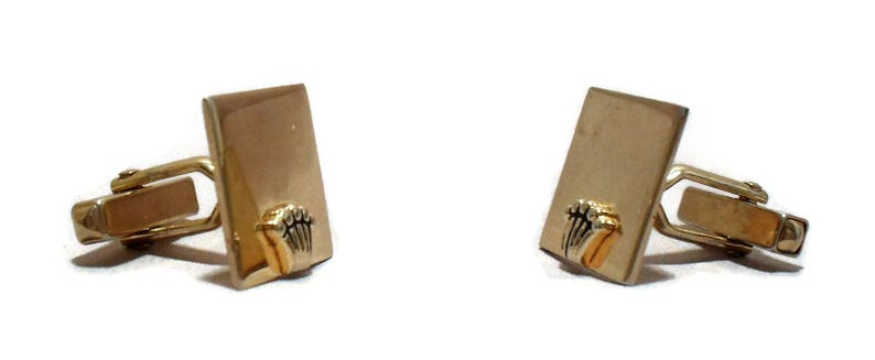 Vintage Swank Cufflinks Gold Tone Square Crown Accent