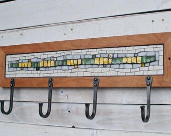 Mosaic Coat Rack, Wall Coat Rack, Entryway Coat Hooks, Coat Hooks, Hand Forged Hooks, Mudroom Hooks, Reclaimed Wood