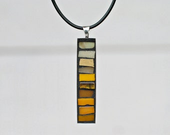 Yellow Jewelry, Pendant Necklace, Mosaic Jewelry, Unique Gifts for Women