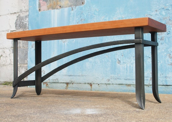 Steel And Wood Bench Cherry Wood Bench Entryway Bench Bench Etsy