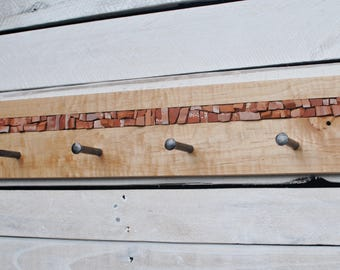 Coat Pegs, Entryway Coat Hooks, Wall Coat Rack, Coat Hooks, Mosaic Coat Rack, Hand-forged Pegs
