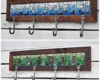 Four Hook Custom Coat Rack, Mosaic Coat Rack, Entryway Coat Hooks, Hand Forged Hooks, Wall Coat Rack, Mudroom Hooks, Reclaimed Wood Frame