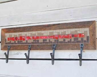 CLEARANCE, Coat Rack, Hat Rack, Wall Coat Rack, Mosaic Coat Rack, Mudroom Hooks, Entryway Coat Hooks
