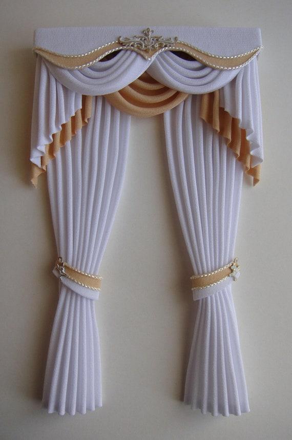 Miniature dolls accessories Cream Lace Tie Back Curtain 1:12th miniature scale