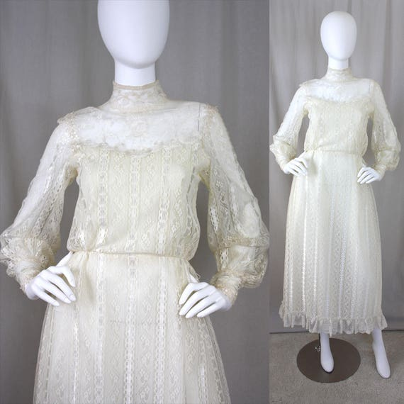 70s Ivory Lace Illusion Victorian Poet Sleeve Maxi