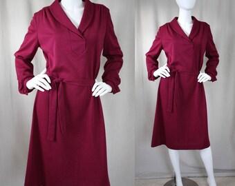Vintage Brick Red/Magenta Sweatshirt Dress | M | L