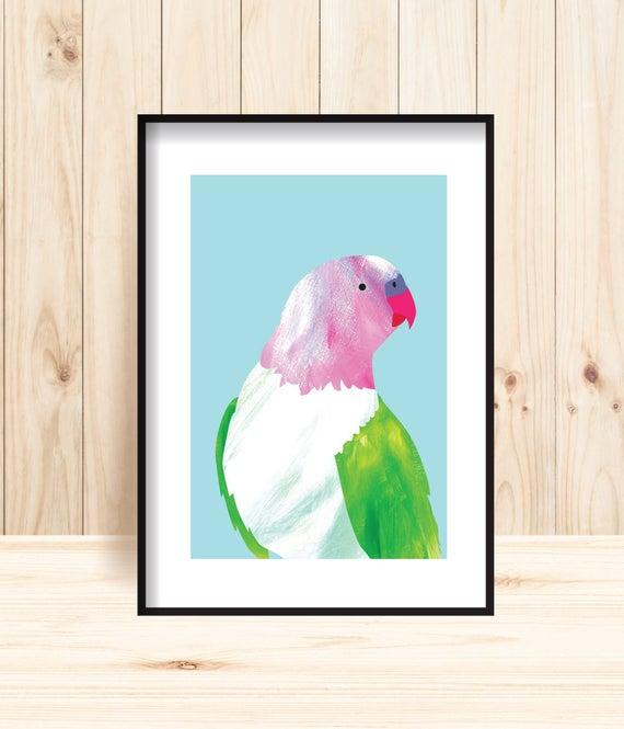 Parrot Prints Princess Parrot Wall Art Parrot Printable   Etsy