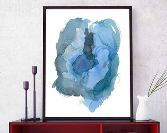 Abstract Art Print Large Wall Art, Modern Blue Abstract Home Decor, Large Watercolor Abstract Art, Colorful Bedroom Decor