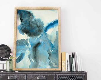 Blue Abstract Watercolor Print. Abstract Watercolor Print. Blue Abstract Watercolor. Watercolor Print Blue. Watercolor Wall Art.