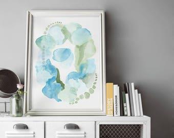 Watercolor Art Print.  Abstract Watercolor Painting. Pantone Serenity Watercolor. Blue Watercolor Painting. Blue Abstract Watercolor