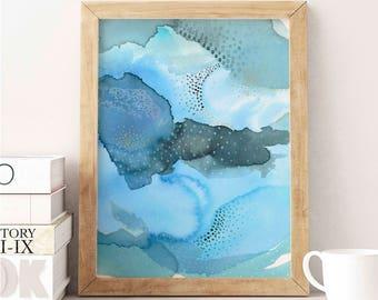 Blue Abstract Wall Art. Watercolor Art Print. Abstract Blue Art Print. Colorful Bedroom Wall Art. Pretty Wall Art.