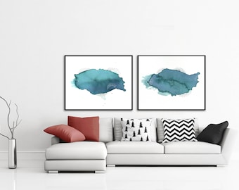 Gift for Her. Long Distance Friend Gift. Pair of Paintings. Best Friend Gift. Long Distance Gift. Abstract Print Set. Gift for Friend