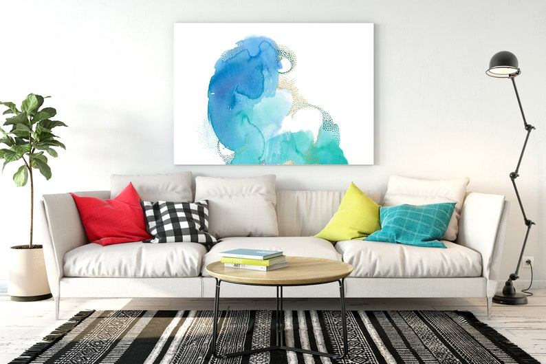 Extra Large Wall Art Watercolor. Large Abstract Blue and Green image 0