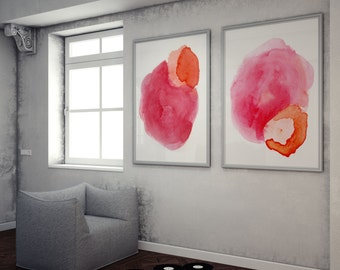 Pink Watercolor Print Set- Colorful Print Set- Pink and Red Watercolor- Colorful Abstract Paintings- Large Art Prints- Colorful Home Decor