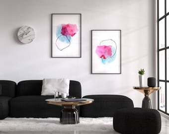 Pink and Blue Set of 2 Prints. Large Abstract Prints Set. Living Room Wall Art Print Set. Large Abstract Wall Art.