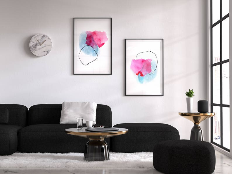 Pink and Blue Set of 2 Abstract Prints  BEST SELLER image 0
