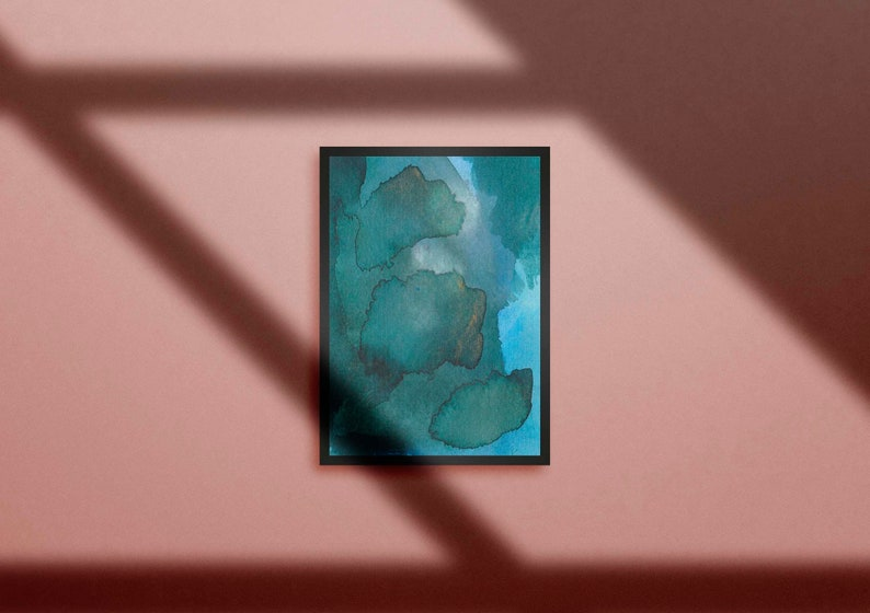 Emerald Green Modern Abstract  Green Watercolor Home Decor image 0