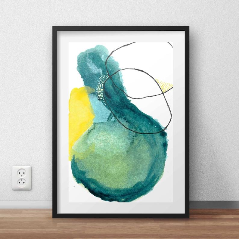 Green Abstract Watercolor Print. Modern Art Print. Abstract image 0