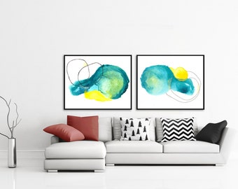 Large Abstract Green Painting Set. Abstract Green Painting Set. Print Set Green Abstract. Colorful Abstract Home Decor