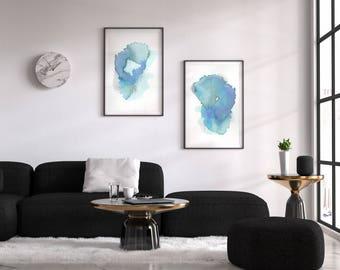Abstract Print Set. Home Decor Abstract Wall Art. Abstract Art Watercolor Art Print. Blue Bedroom Wall Art.