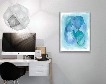 Large Abstract Watercolor Art, Blue Green Art, Abstract Print Blues, Watercolor Art Print, Large Wall Art, Colorful Modern Art
