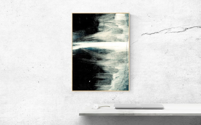 Dark Abstract Black and Blue Art Print. image 0