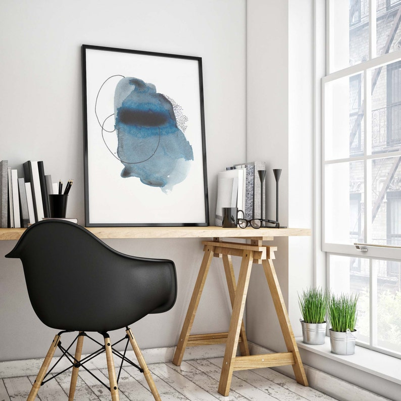 Blue Abstract Watercolor Print. Modern Abstract Watercolor image 0
