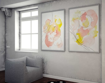 Nursery Room Art, Abstract Art Prints, Pink Peach and Yellow Art, Colorful Wall Art,  Print Pair Art