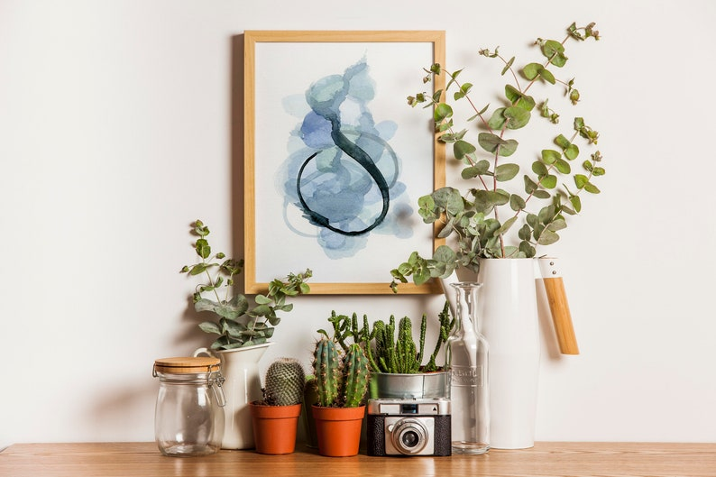 Abstract Watercolor Painting in Blue image 0