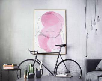 Pink Watercolor Abstract Art Print, Modern and Minimal Art Print, Colorful Home Decor, Pink Wall Art Print, Modern Art Print Abstract