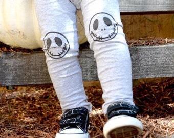 Jack Skellington Leggings Nightmare Before Christmas Halloween Hand Painted Childrens Leggings Womens Leggngs