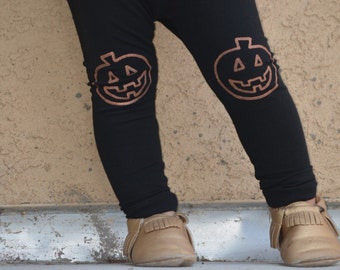 Halloween Jack O'Lantern Fall Pumpkin Hand Painted Childrens Leggings