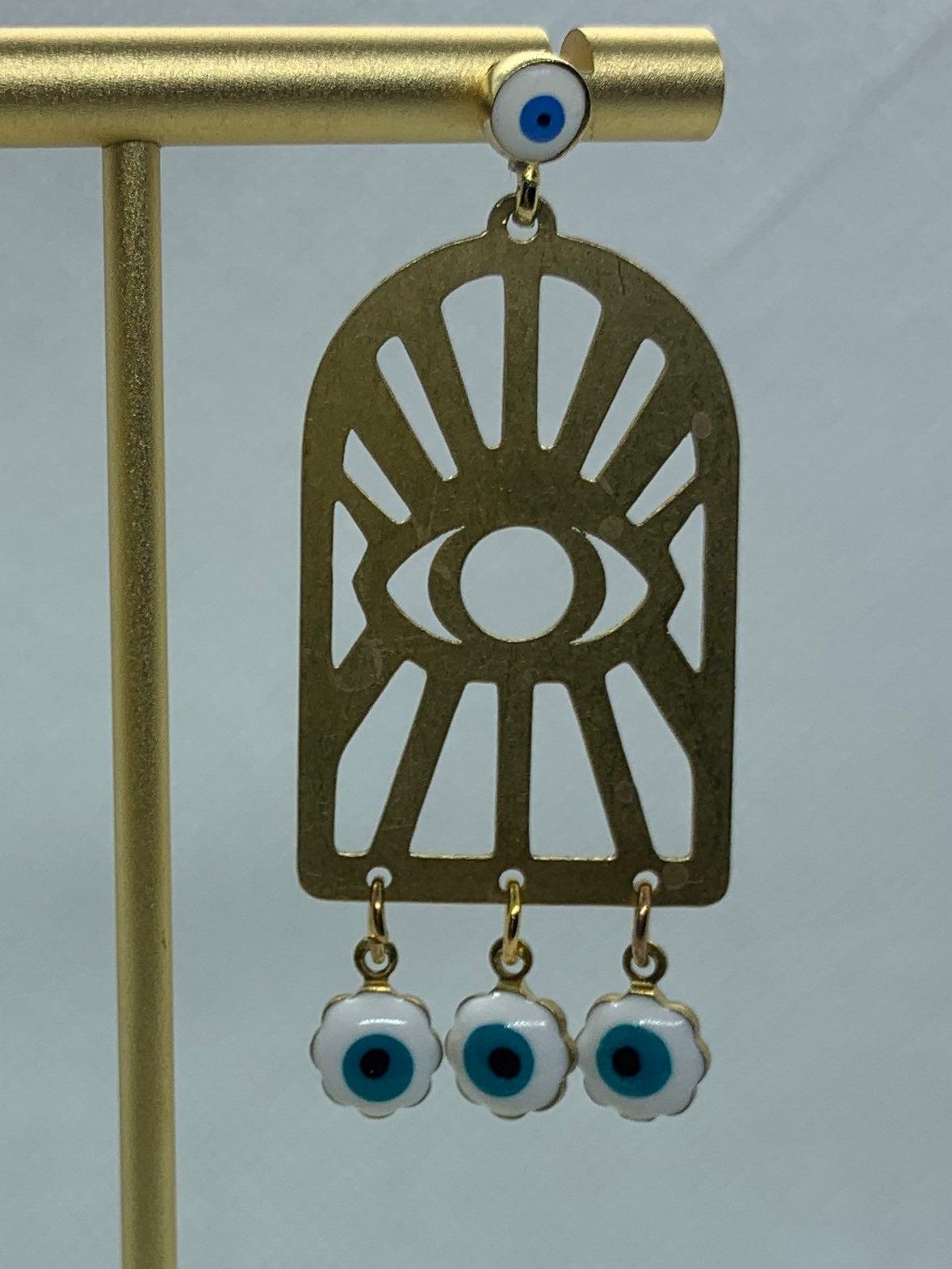 Turkish-Middle Eastern evil eye window pane gold vermeil chandelier drop earrings