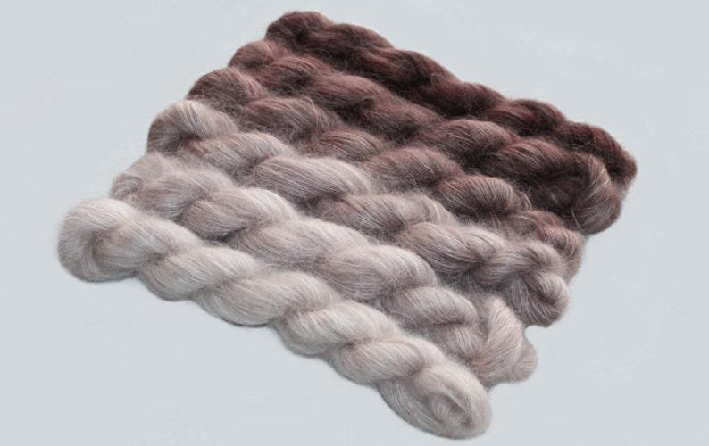 Gradient Yarn  Set Hand dyed Kid Mohair   in Pecan Brown