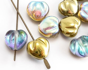 Gold AB Heart Czech Glass Beads, (20 pcs) 10mm Heart Beads, HRT0088