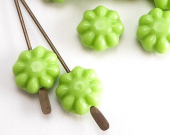 9mm Green Flower Czech Glass Beads, (20 pcs)