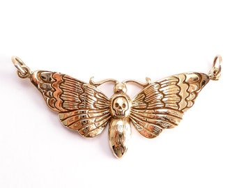 Bronze Deaths Head Moth Charm, (1 pc) 2x17.5x46mm Moth Charms, Bronze Charms, CHM0241