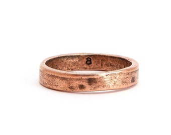 Antique Copper Hammered Ring Size 8, (1 pc) Hammered Ring, Nunn Copper Ring, CHM0245