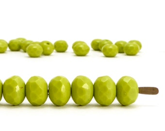 5x7mm Lime Rondelle Czech Glass Beads, (30 pcs)