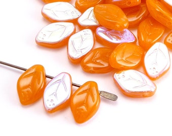 Orange Leaf Czech Glass Beads, (40 pcs) 12x7mm Leaf Beads, LEA0121