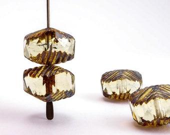 Topaz Wavy Czech Glass Beads, (4 pcs) 10x14mm Wavy Beads, WAV0007