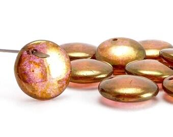 Gold Luster Lentil Czech Glass Beads, (10 pcs) 12mm Lentil Beads, Luster Beads, LEN0003