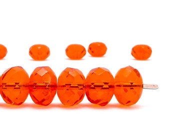 7x11mm Orange Rondelle Czech Glass Beads, (12 pcs)