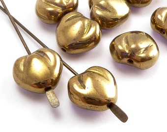 Gold Heart Czech Glass Beads, (10 pcs) 10mm Heart Beads, HRT0087