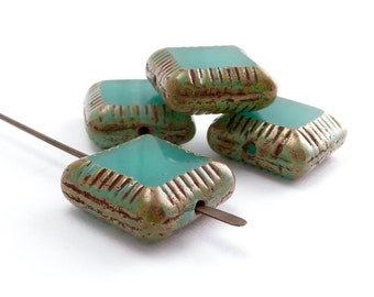 Turquoise Square Czech Glass Beads, (4 pcs) 14mm Square Beads, Turquoise Beads, SQU0027